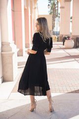 Beth Button Black Dress - llacie