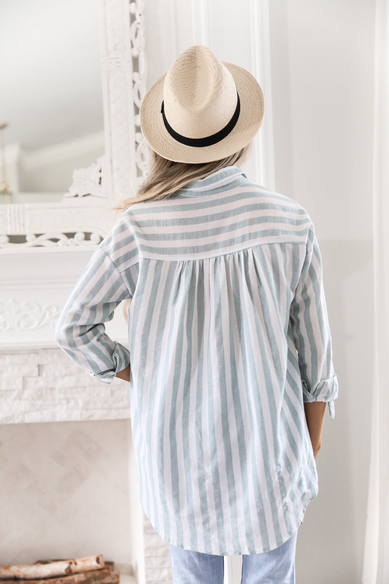 STRIPED MINT BUTTON DOWN