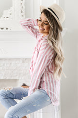 STRIPED PINK BUTTON DOWN