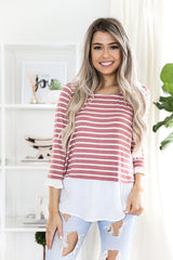 MAUVE STRIPED TOP - llacie