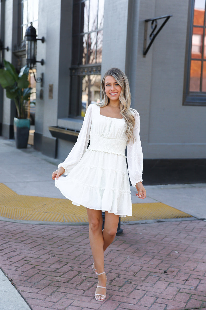 Savannah Cream Textured Tiered Dress
