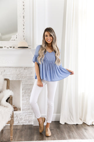 BLUE BABY DOLL TOP