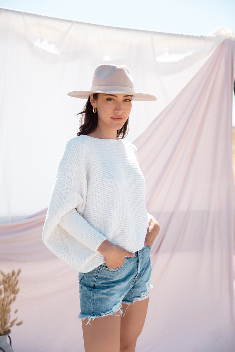White Bat-Sleeve Ribbed Sweater