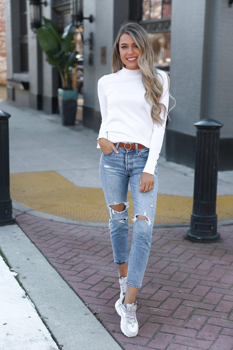 Ava Ivory Long Sleeve Top
