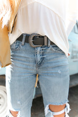 Leather Western Tipped Waist And Hip Belt