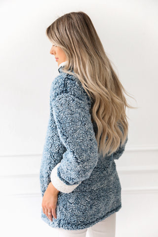 BLUE Cozy Pullover Sweater/ Jacket