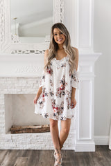 Floral Print Open Shoulder Dress