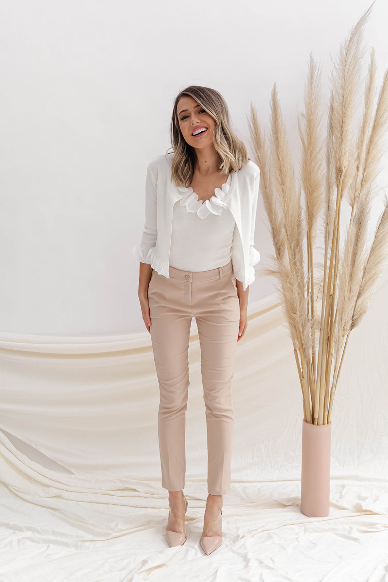 Jacie Nude Tapered Pants- FINAL SALE