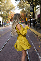 MUSTARD HALTER DRESS - llacie