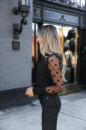 Effortless Black Puff Sleeve Top