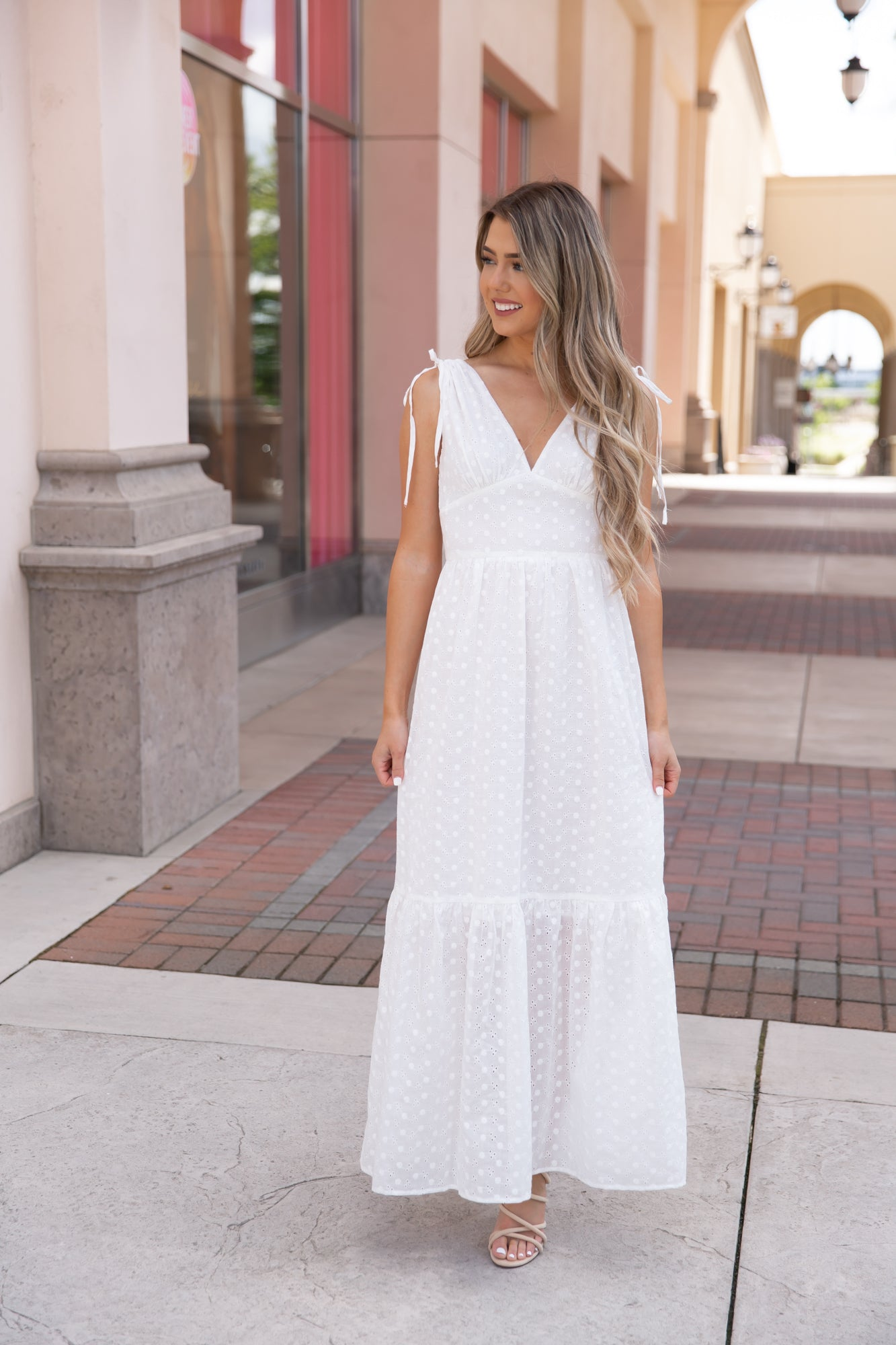 White Wonders Eyelet Maxi Dresses