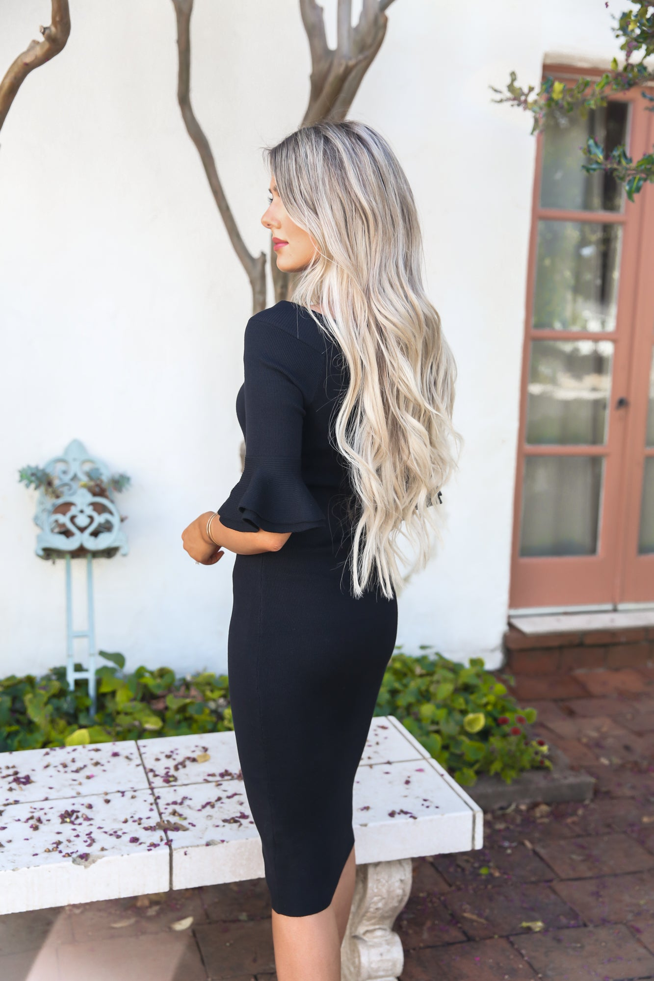 Black Boatneck Bell Sleeve Dress - llacie