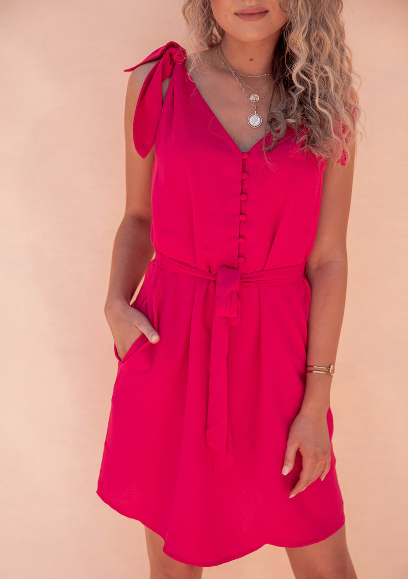 Peony Shoulder Tie Dress- FINAL SALE