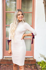 Nude Ribbed Bodycon Dress