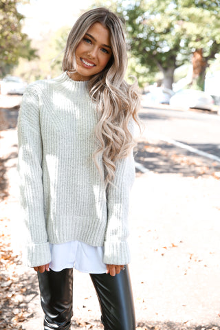 Gray Knit Twofer Sweater