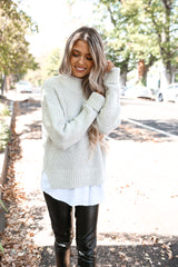 Gray Knit Twofer Sweater - llacie