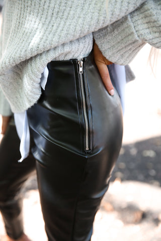 Black Faux Leather Side Zip Pants - llacie