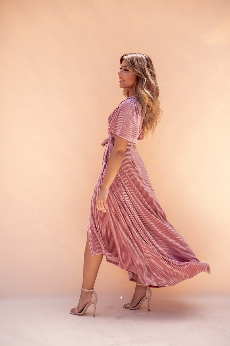 Frosty Blush Ribbed Velvet Maxi Dress