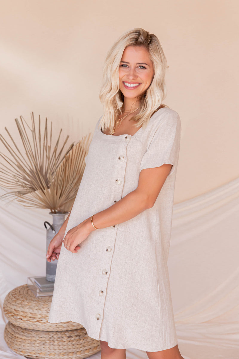 Beach Strolls Linen Dress- FINAL SALE