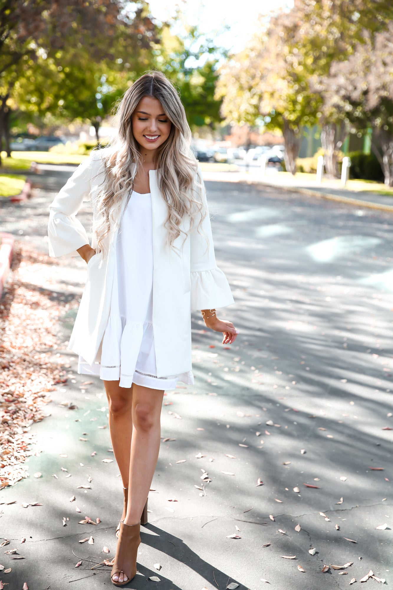 White Bell Sleeve Coat