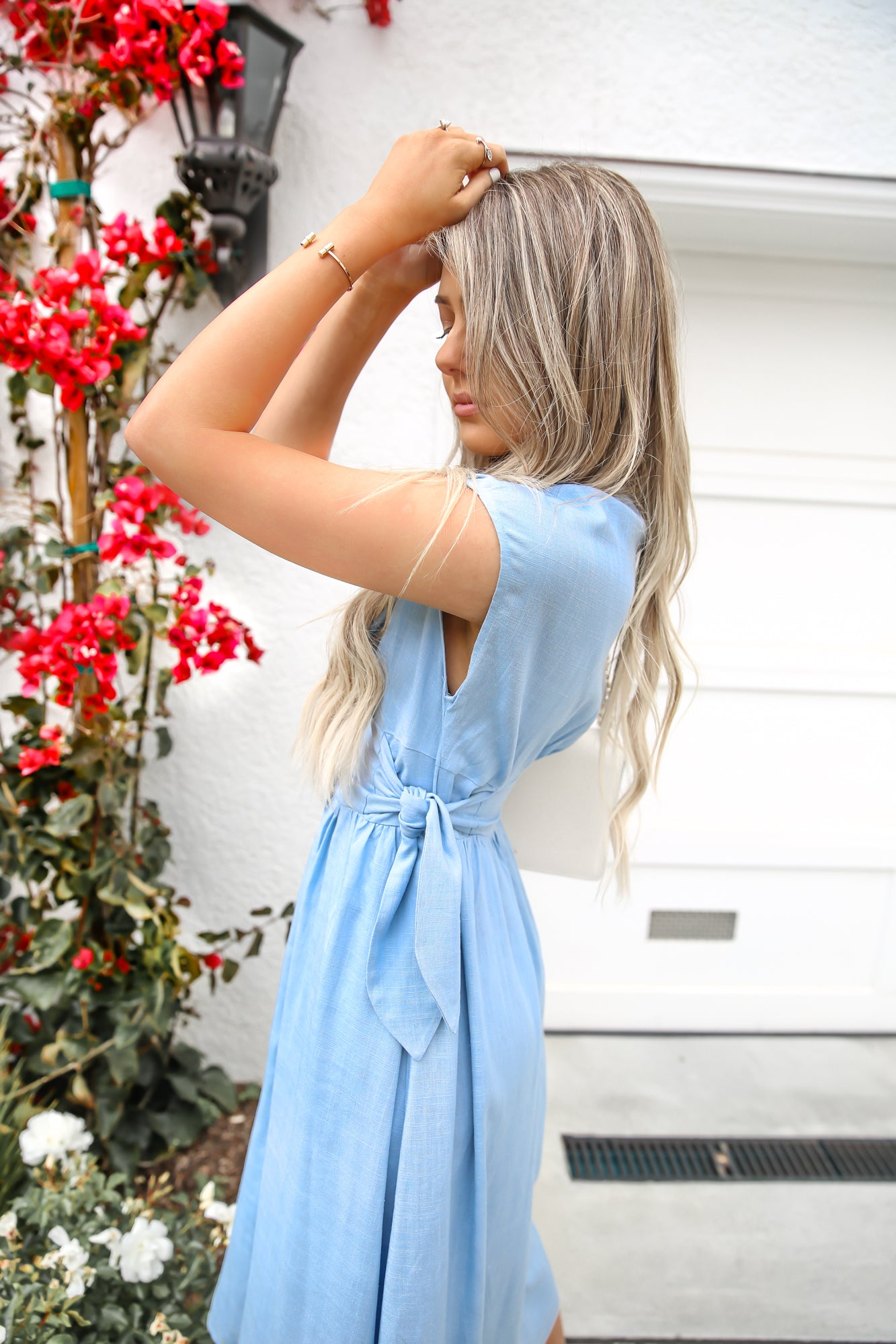 Ocean Blue Side Tie Midi Dress