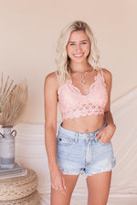 Sweet One Crochet Lace Bralette | Pink- FINAL SALE