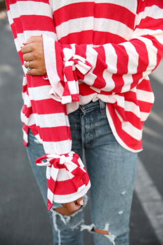 Red Striped Tie sleeves sweater - llacie