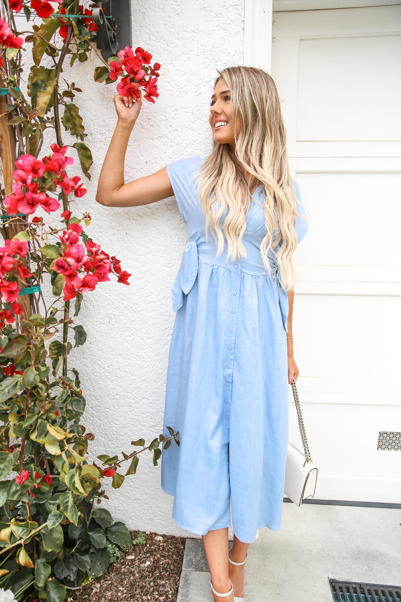 Ocean Blue Side Tie Midi Dress - llacie