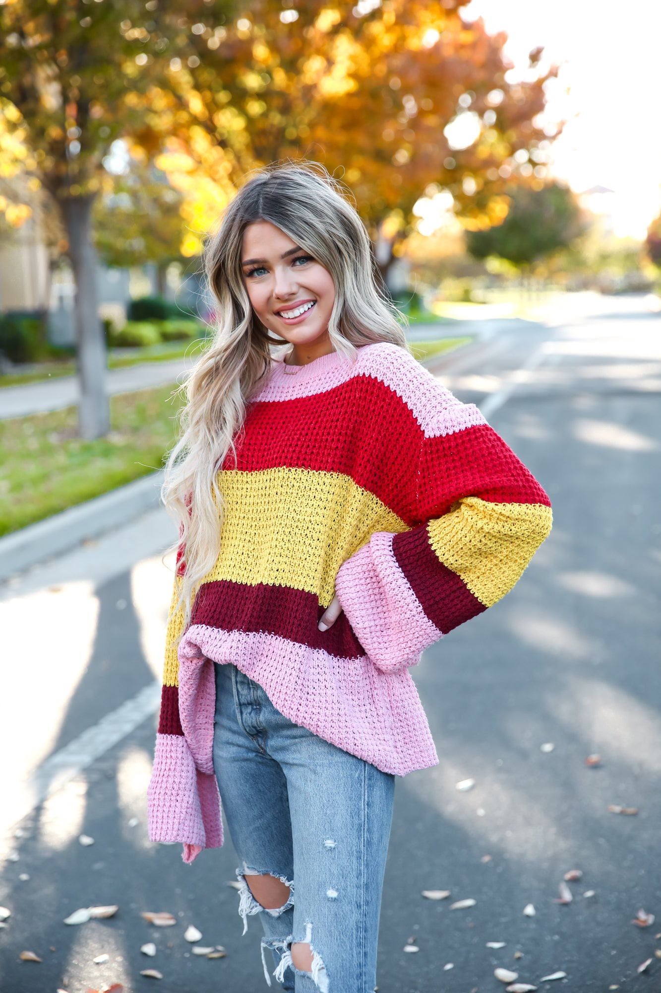 Bell Sleeve Color Block Sweater - llacie