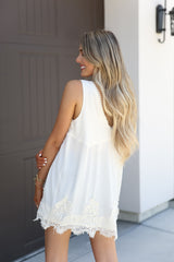 Zoey Ivory Lace Trim Sleeveless Tunic