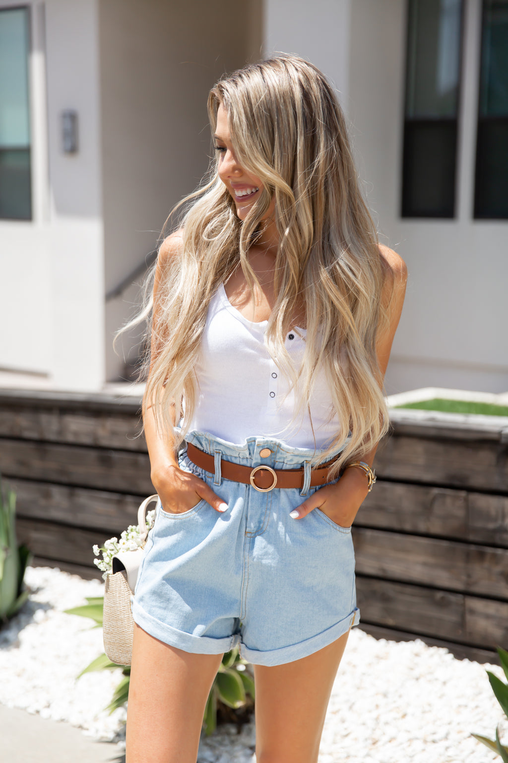 Denim High-Waisted Shorts- FINAL SALE