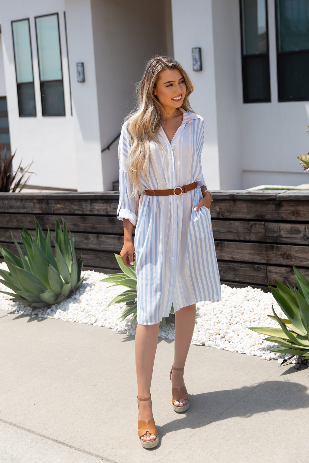 Forever Vintage Striped Shirt Dress- FINAL SALE