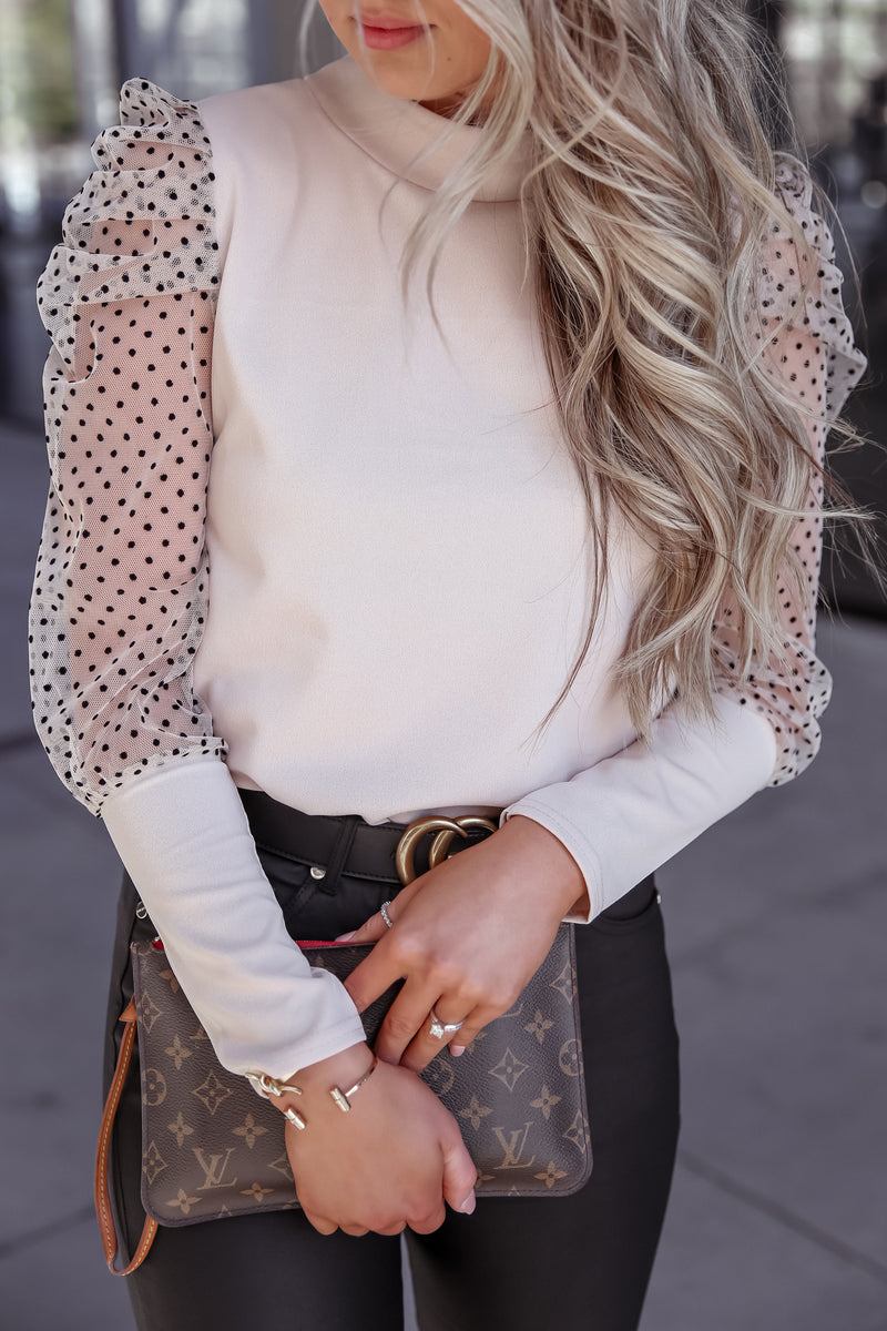 Luna Beige Polka Dot Top
