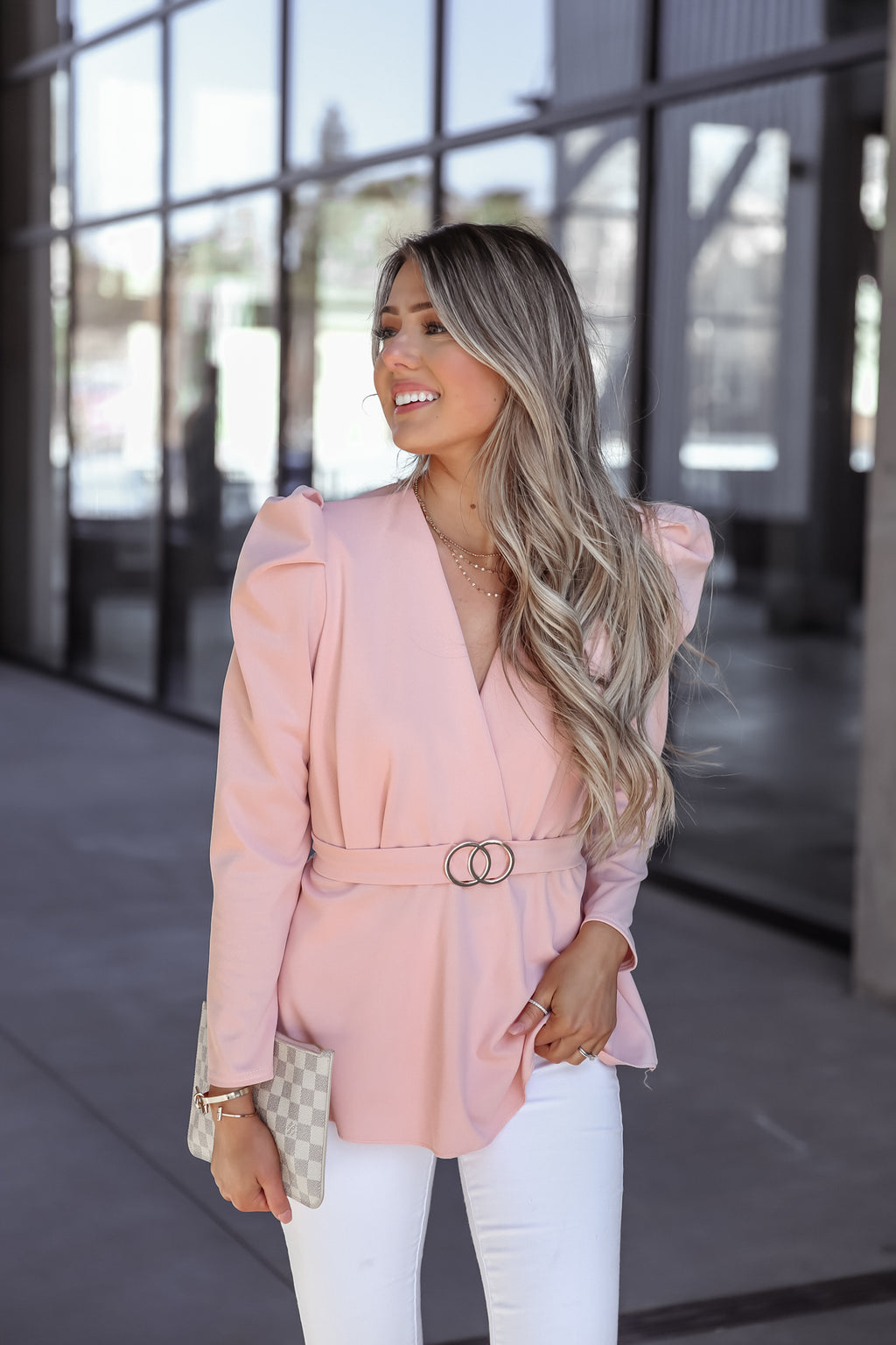Pink Puff Sleeve Belted Top