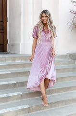 Dusty Rose Velvet Wrap Dress - llacie