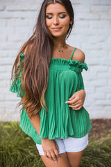 Diane Pleated Off Shoulder Top