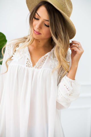 Paige Floral Crochet Long Sleeve Top - llacie