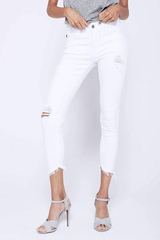 Skinny  White  Ripped Ankle Jeans - llacie
