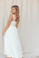 Penelope Off White Smocked Midi Dress - LLACIE