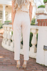 Beige Paper-bag Pants - llacie