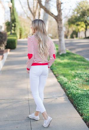Heart Patch Stripe Sweater - llacie