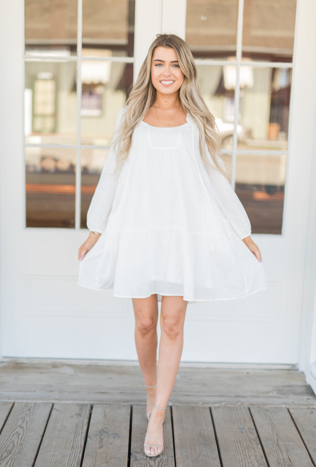 Marley White Babydoll Dress - llacie