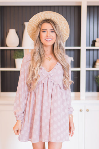 Polka Dreaming Long Sleeve Mauve Dress - llacie