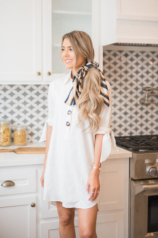 White Button Down Shirtdress
