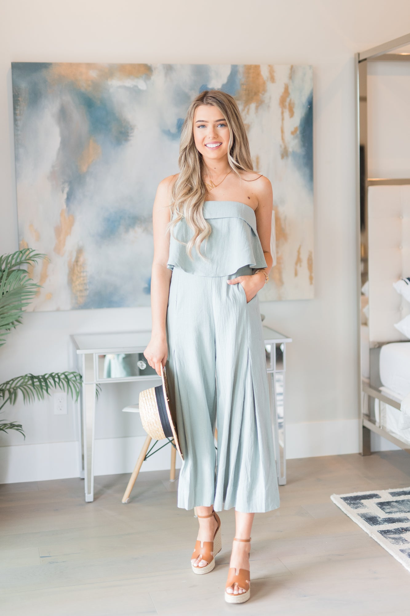 Date Tube Jumpsuit In Sage - llacie