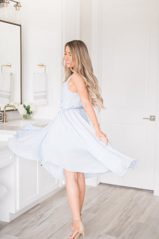 Flow Like A Dream Dress In Steel Blue - llacie