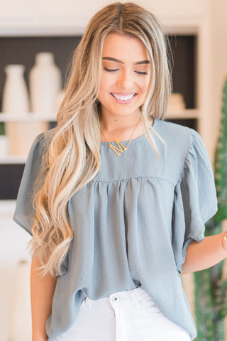 Tay Teal Ruffle Blouse