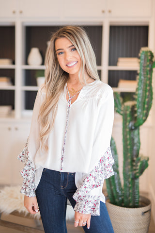 All About The Sleeves White Top - llacie