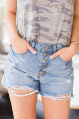 Button Down Denim Shorts - llacie