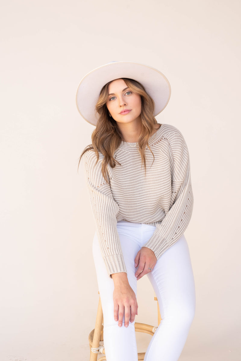 Brook Cream Striped Sweater | LLACIE